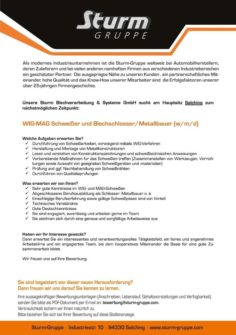 WIG-MAG Schweißer und Blechschlosser/Metallbauer (m/w/d)