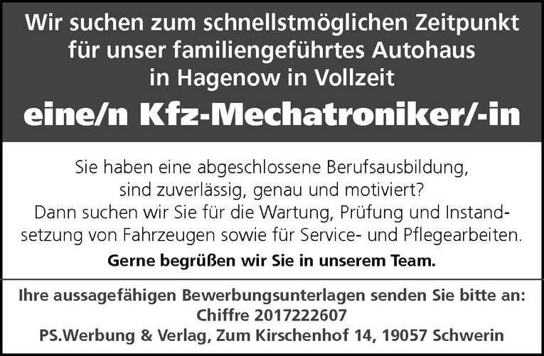 Kfz-Mechatroniker/-in