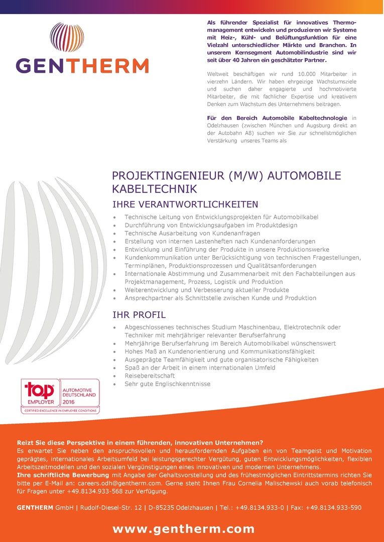 Projektingenieur (m/w) Automobile Kabeltechnik