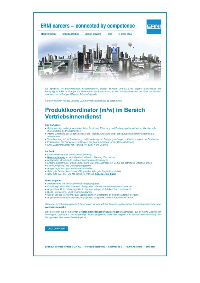 Produktkoordinator (m/w) im Bereich Vertriebsinnendienst