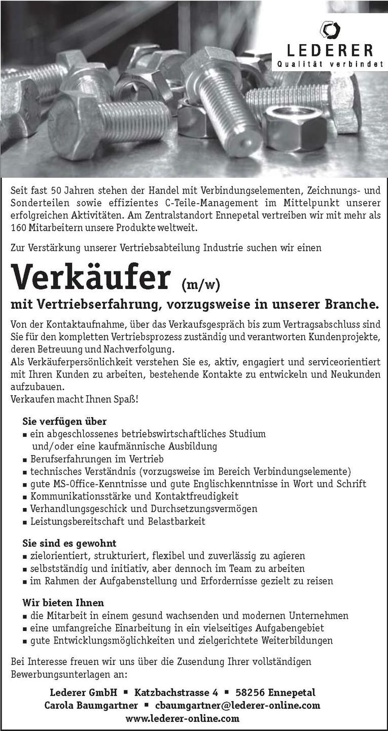 Verkäufer (m/w) für den Verkauf von Verbindungselementen und Sonderteilen.