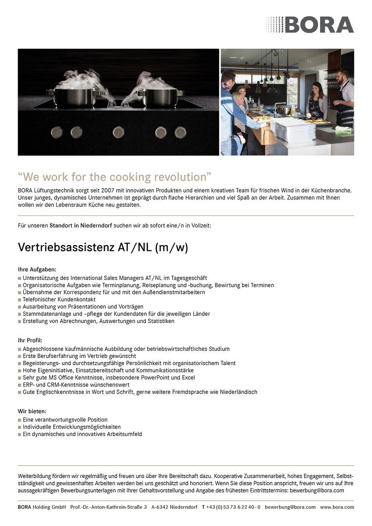 Vertriebsassistenz AT/NL (m/w)
