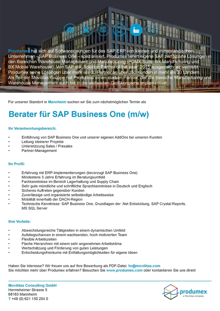 Berater für SAP Business One (m/w)