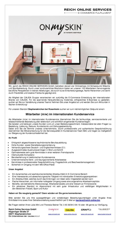 Mitarbeiter (m/w) im internationalen Kundenservice