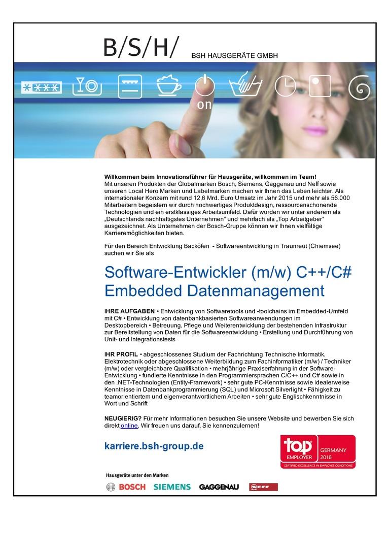 Software-Entwickler (m/w) C++/C# Embedded Datenmanagement
