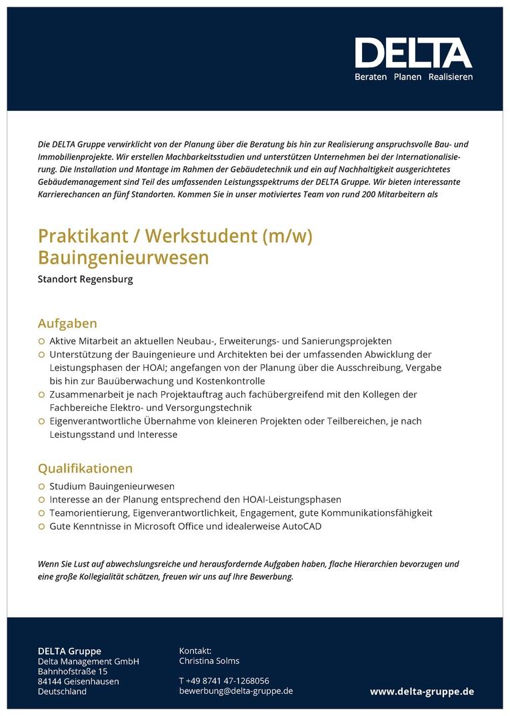 Praktikant/ Werkstudent (m/w) Bauingenieurwesen
