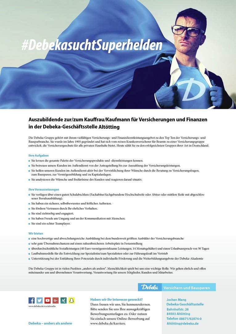 Auszubildende zur/zum Kauffrau / Kaufmann für Versicherungen und Finanzen bei der Debeka