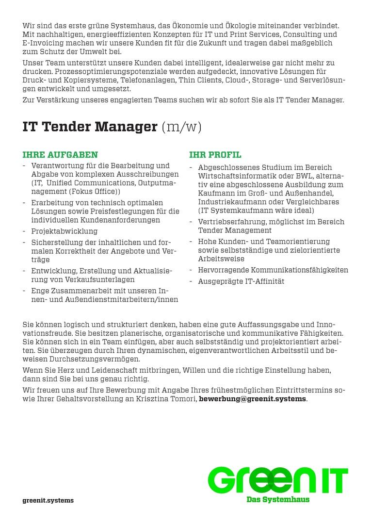 IT Tender Manager (m/w) - Spezialist Ausschreibungen