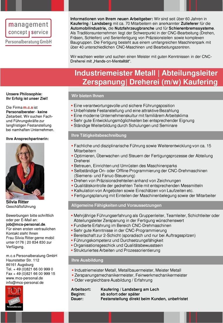 Industriemeister Metall | Abteilungsleiter Zerspanung | Dreherei m/w
