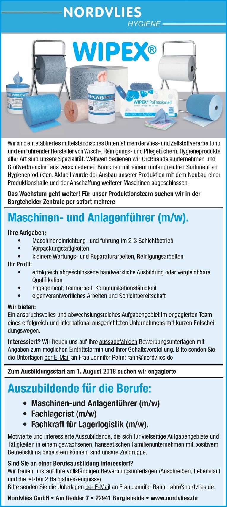 Auszubildende Maschinen- und Anlagenführer (m/w)