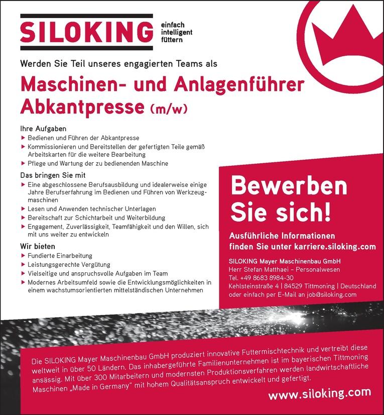 Maschinen- und Anlagenführer Abkantpresse (m/w)