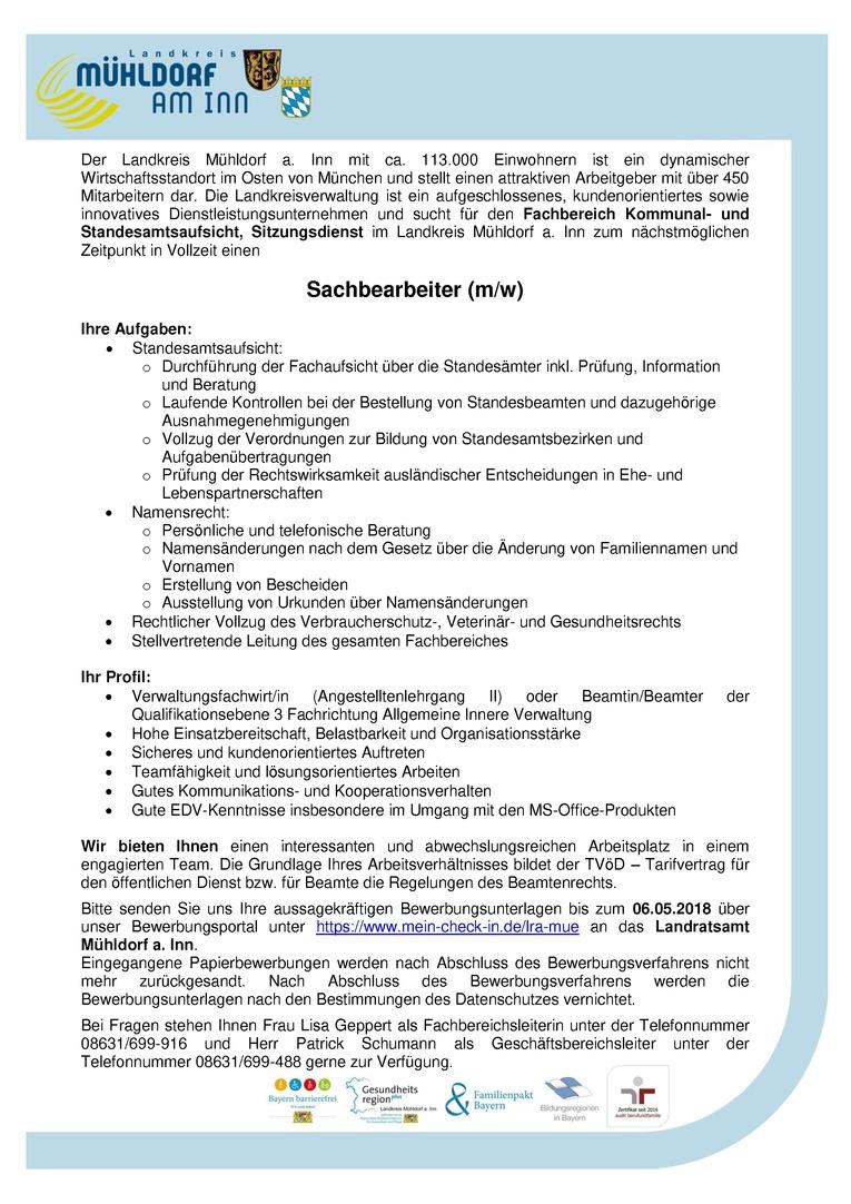 Sachbearbeiter(m/w) Standesamtsaufsicht – Landratsamt Mühldorf a. Inn (öffentlicher Dienst)