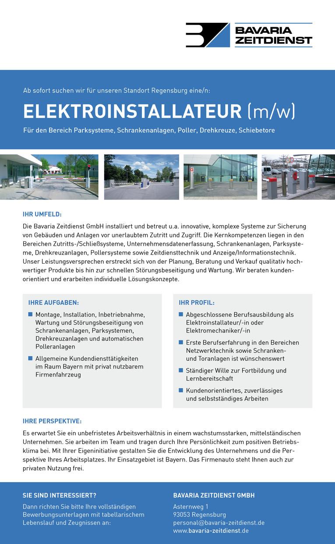 Elektroinstallateur (m/w) für den Bereich Parksysteme, Schrankenanlagen, Poller, Drehkreuze, Schiebetore