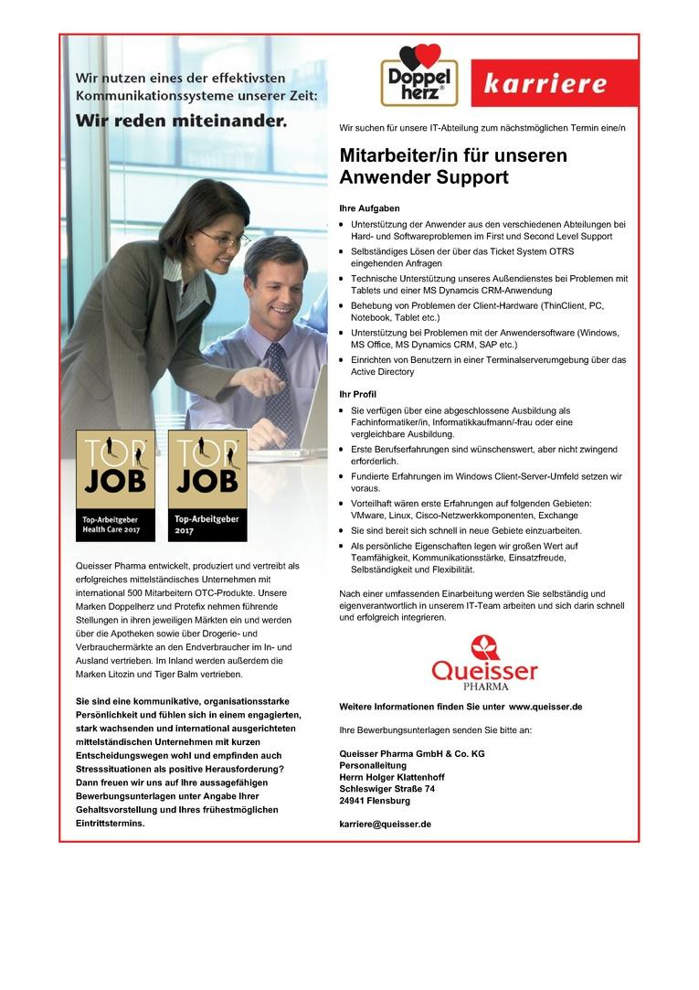 Mitarbeiter/in für den Anwendersupport