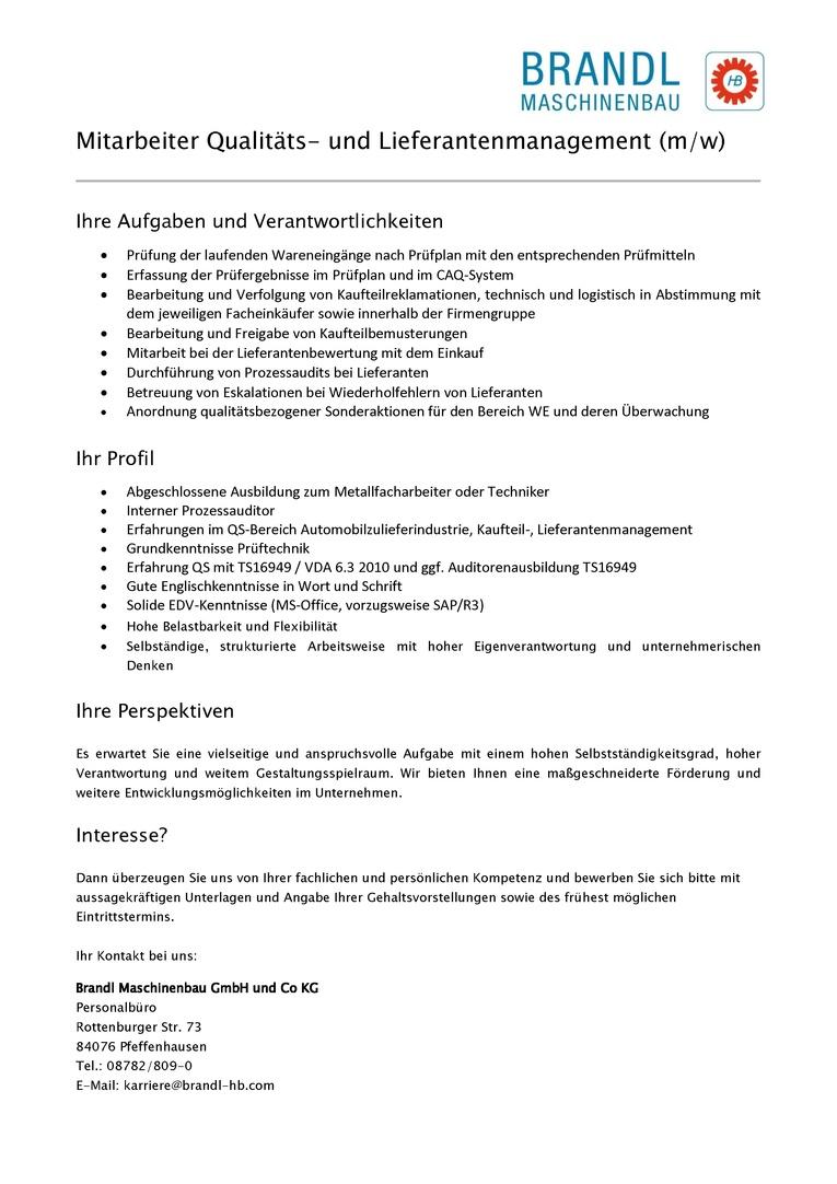 Mitarbeiter Qualitäts- und Lieferantenmanagement (m/w)