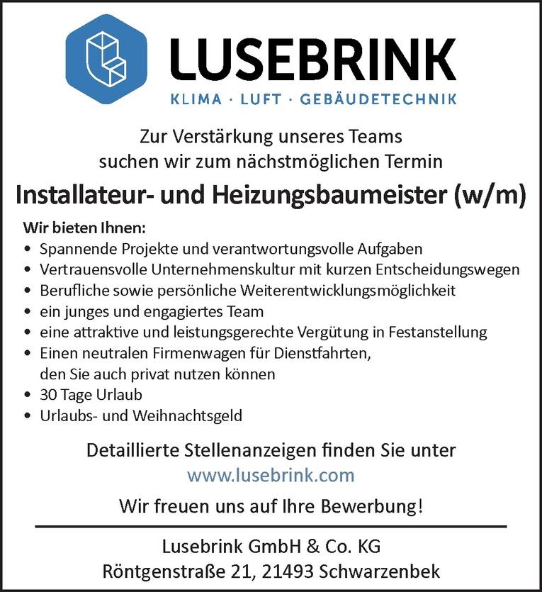 Installateur- und Heizungsbaumeister (w/m)