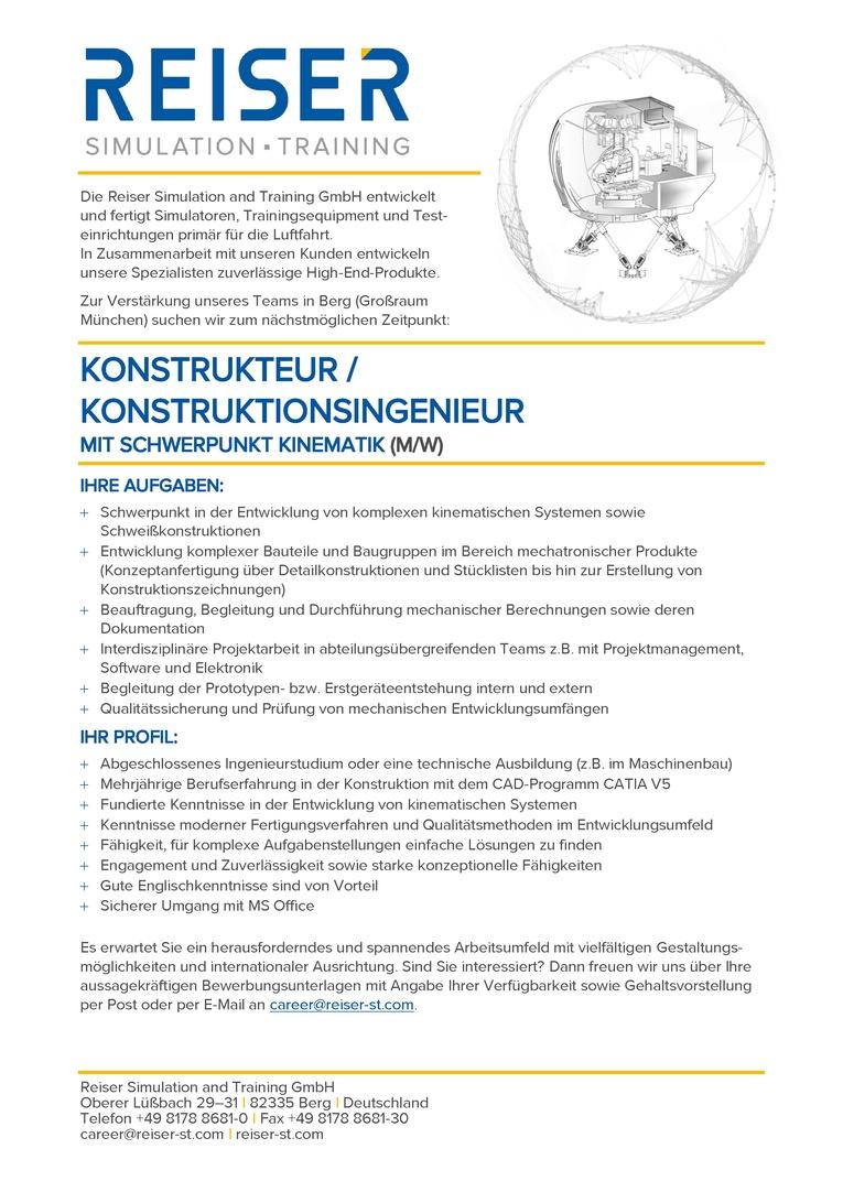 Konstrukteur / Konstruktionsingenieur - Kinematik (m/w)