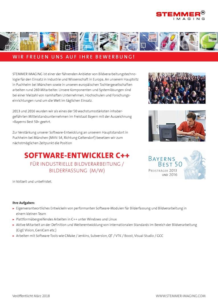 Software-Entwickler C++ für industrielle Bildverarbeitung / Bilderfassung (m/w)
