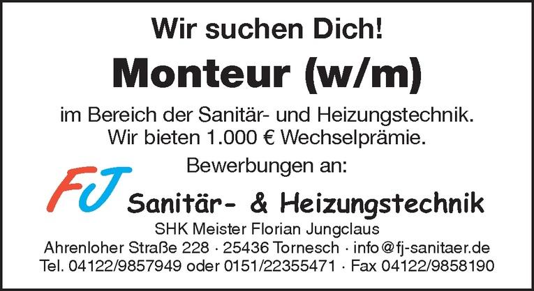Monteur (w/m) Sanitär- und Heizungstechnik.