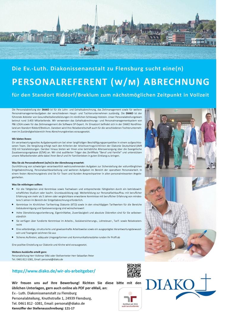 Personalreferent (w/m) Abrechnung für den Standort Riddorf/Breklum