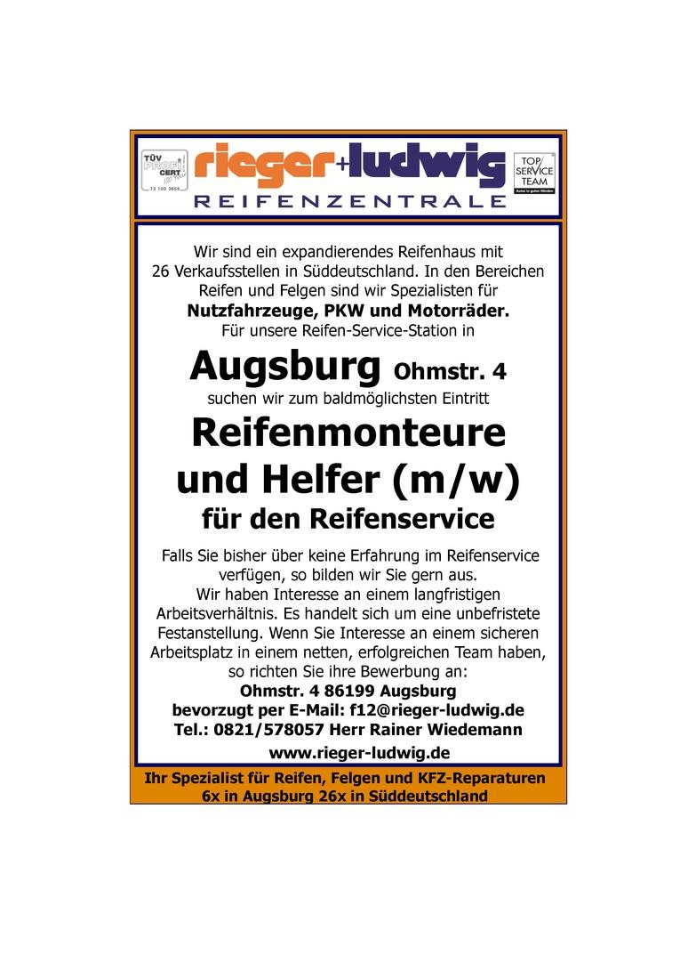 Reifenmonteure (m/w) oder Helfer (m/w)