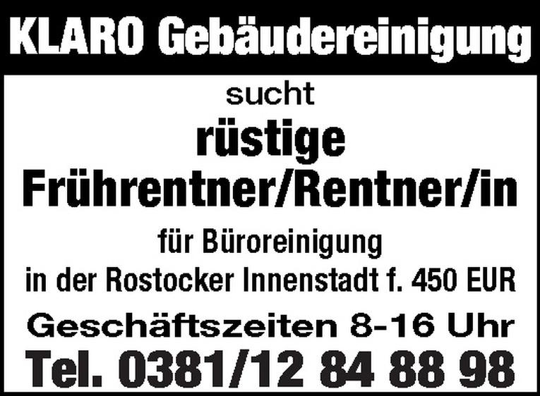 Frührentner/Rentner/in Gebäudereinigung