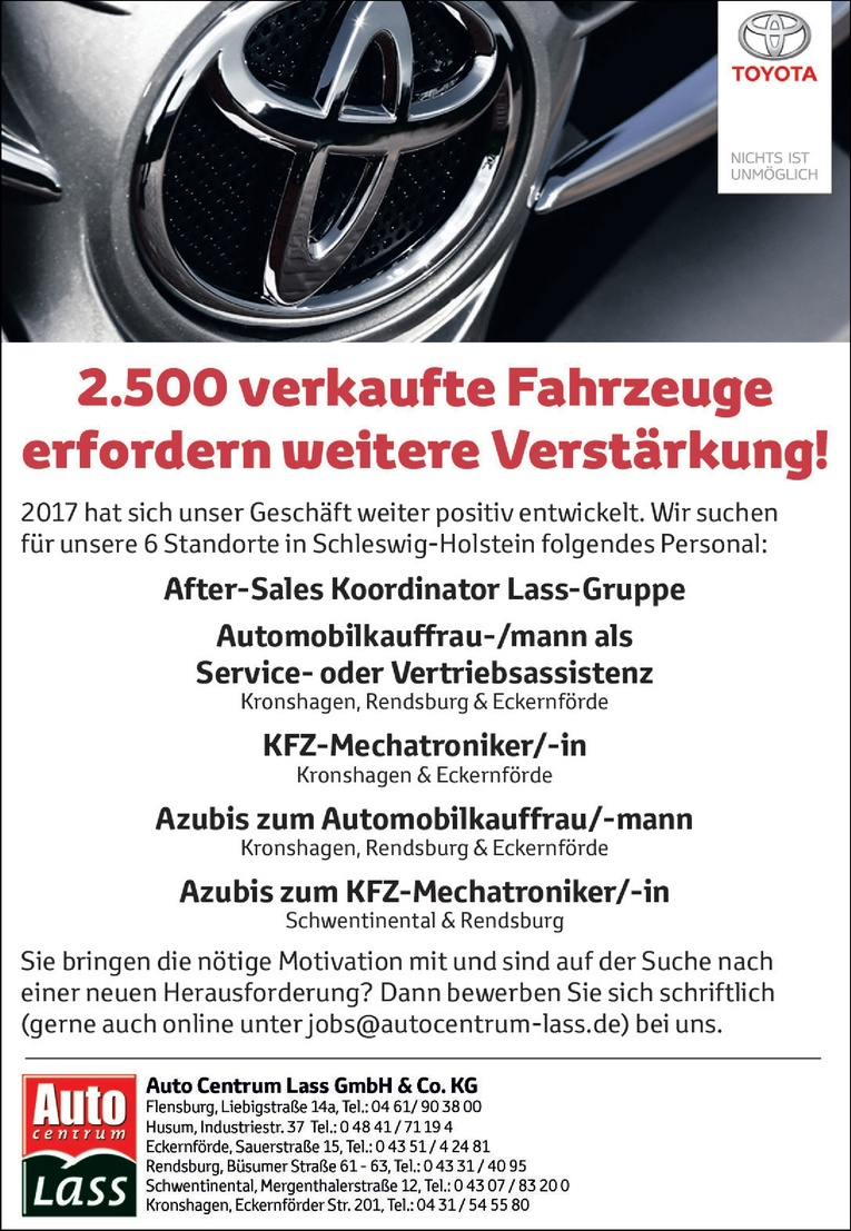 After-Sales Koordinator Lass-Gruppe (m/w)