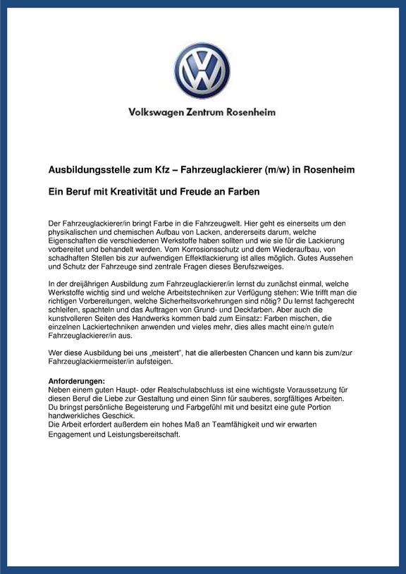 Ausbildungsstelle für 2018 zum Kfz – Fahrzeuglackierer (m/w) im Volkswagen Zentrum