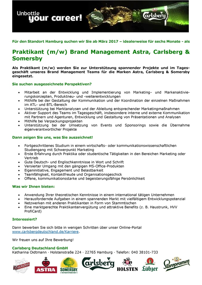 Praktikant (m/w) Brand Management Astra, Carlsberg & Somersby
