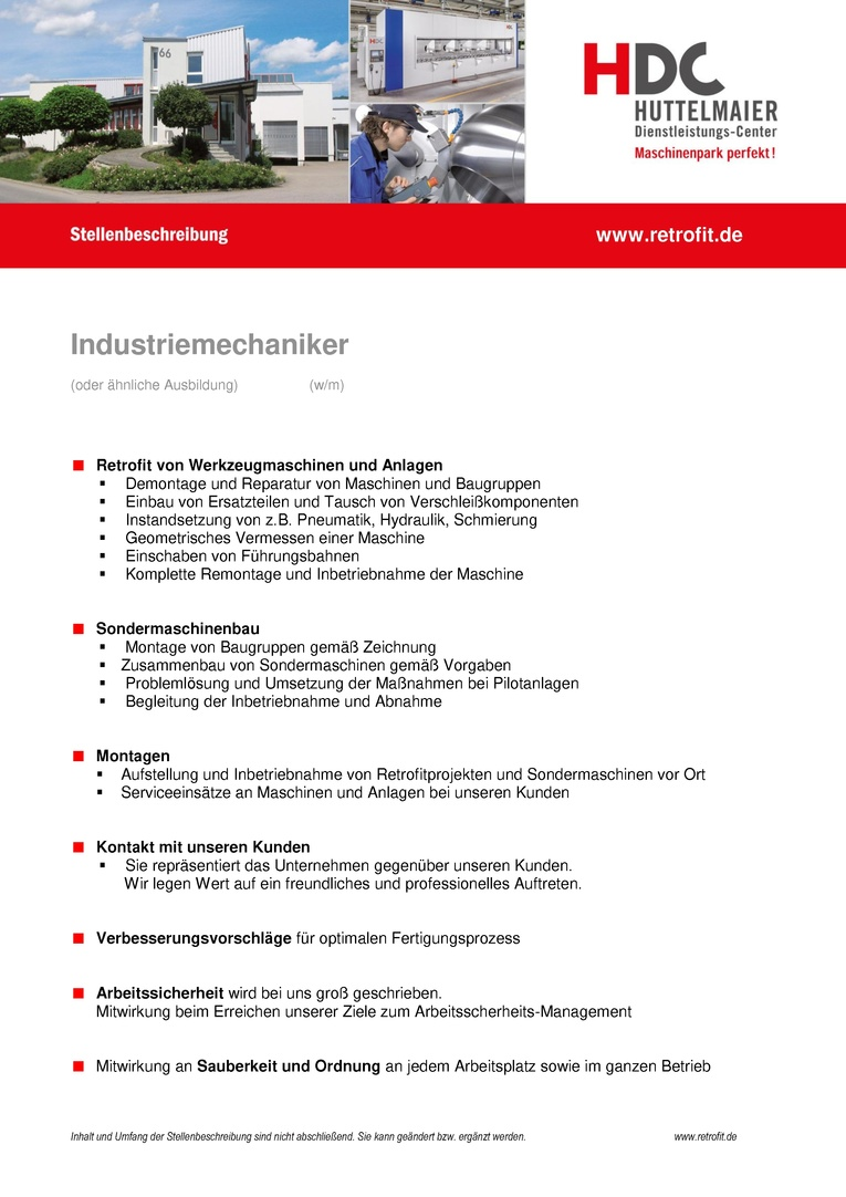 Industriemechaniker m/w