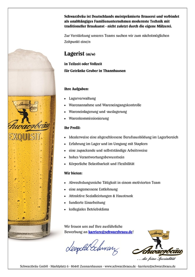 Lagerist (m/w) für Getränke Gruber in Thannhausen
