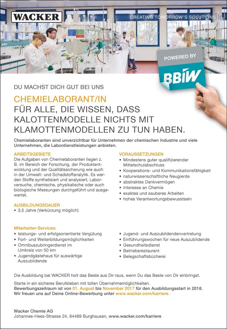 Ausbildung als Chemielaborant/in