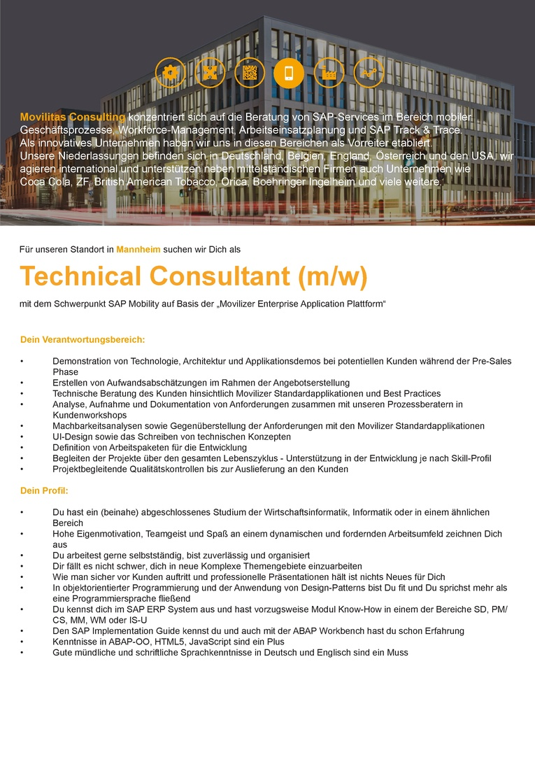 Technical Consultant (m/w)