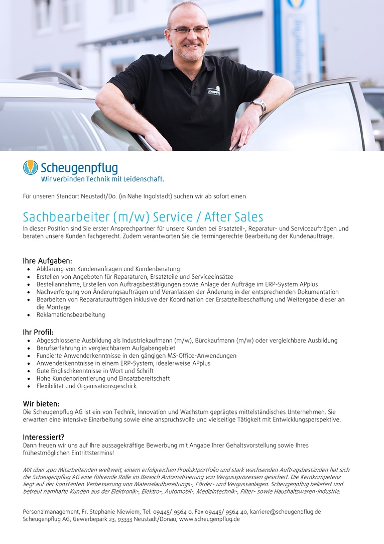 Sachbearbeiter (m/w) Service/After Sales
