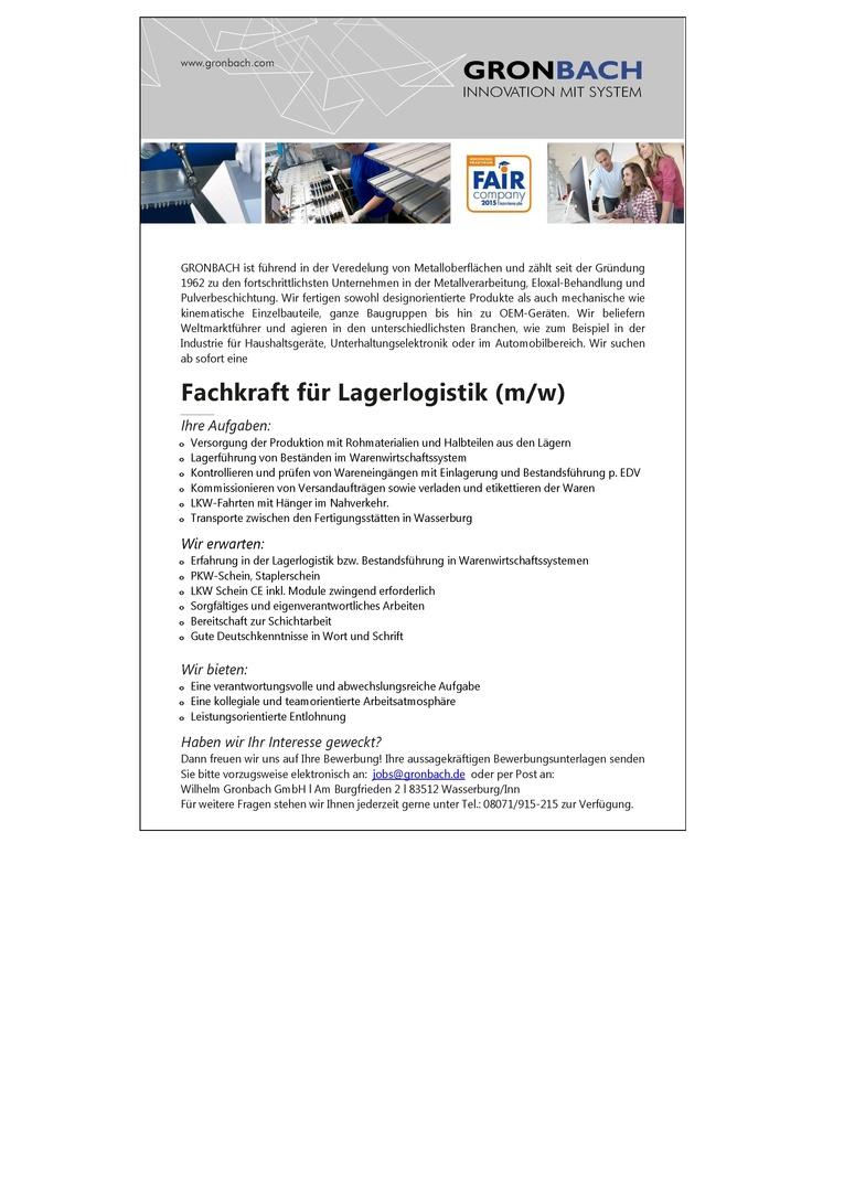 Fachkraft für Lagerlogistik (m/w)