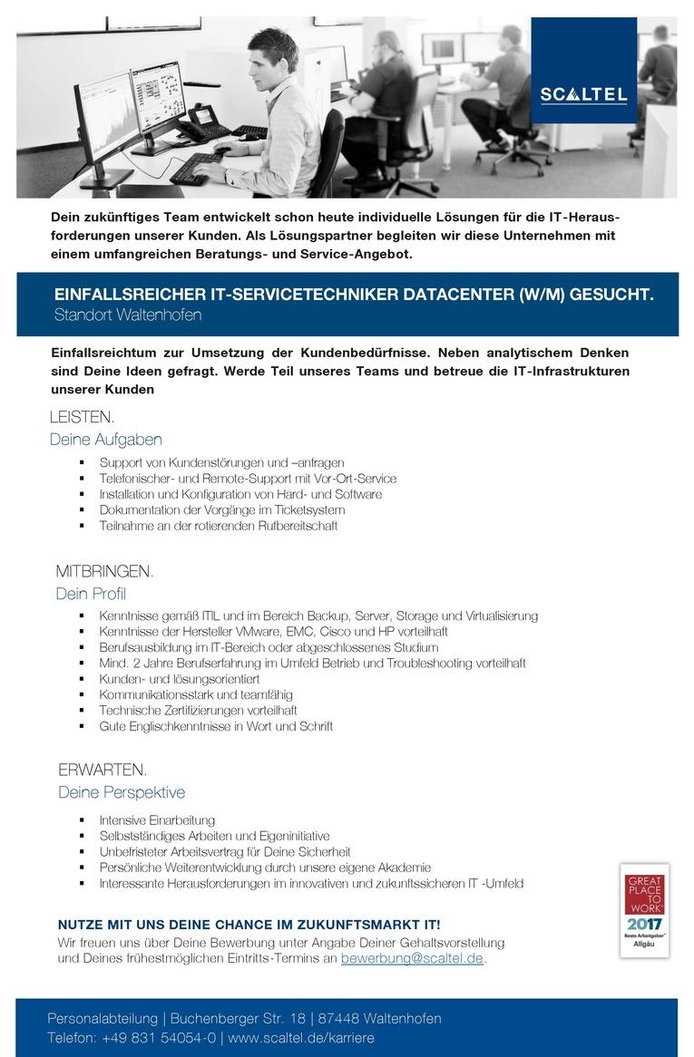 EINFALLSREICHER IT-SERVICETECHNIKER DATACENTER (W/M)