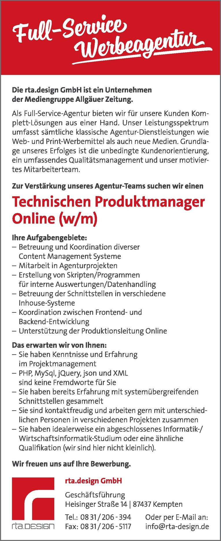 Technischer Produktmanager Online (w/m)