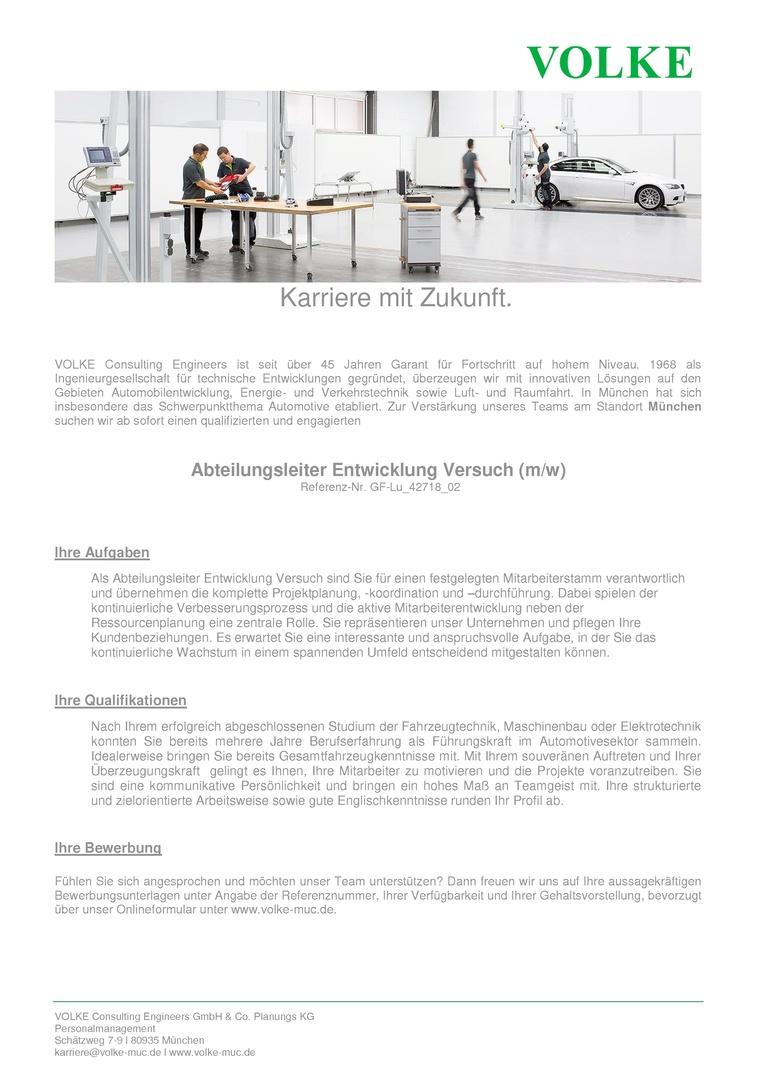 Abteilungsleiter Entwicklung Versuch (m/w)