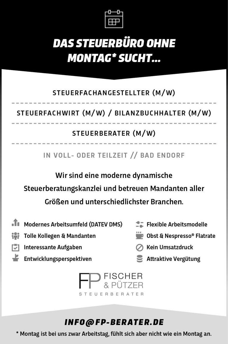 Das Steuerbüro ohne Montag* sucht STEUERBERATER (M/W)