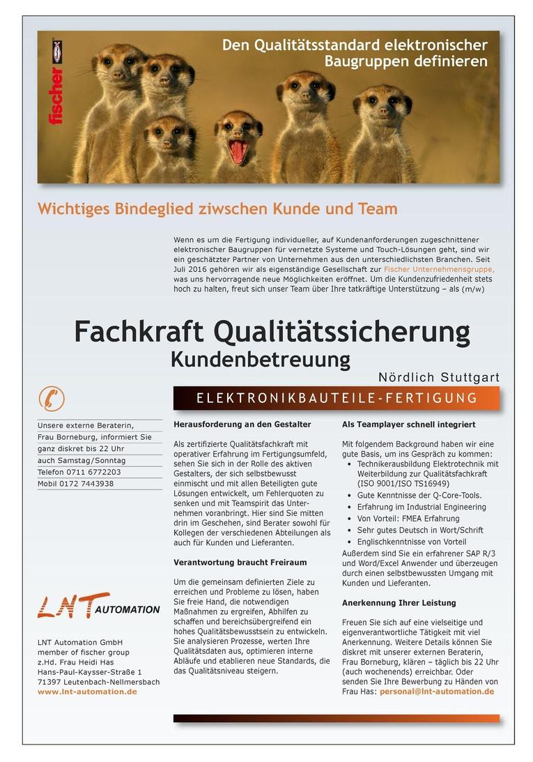 Fachkraft Qualitätssicherung, Kundenbetreuung (m/w)