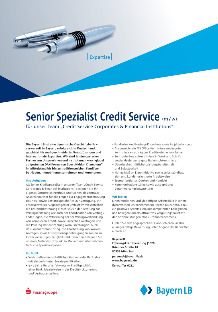Senior Spezialist Credit Service (m/w) für unser Team Credit Service Corporates & Financial Institutions