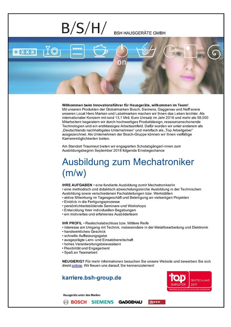 Ausbildung zum Mechatroniker (m/w) für September 2018