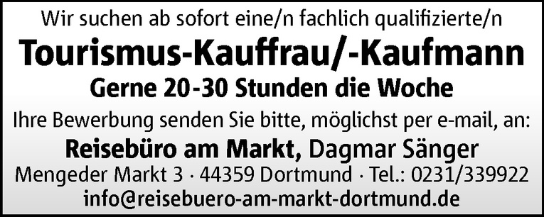 Tourismus-Kauffrau/-Kaufmann