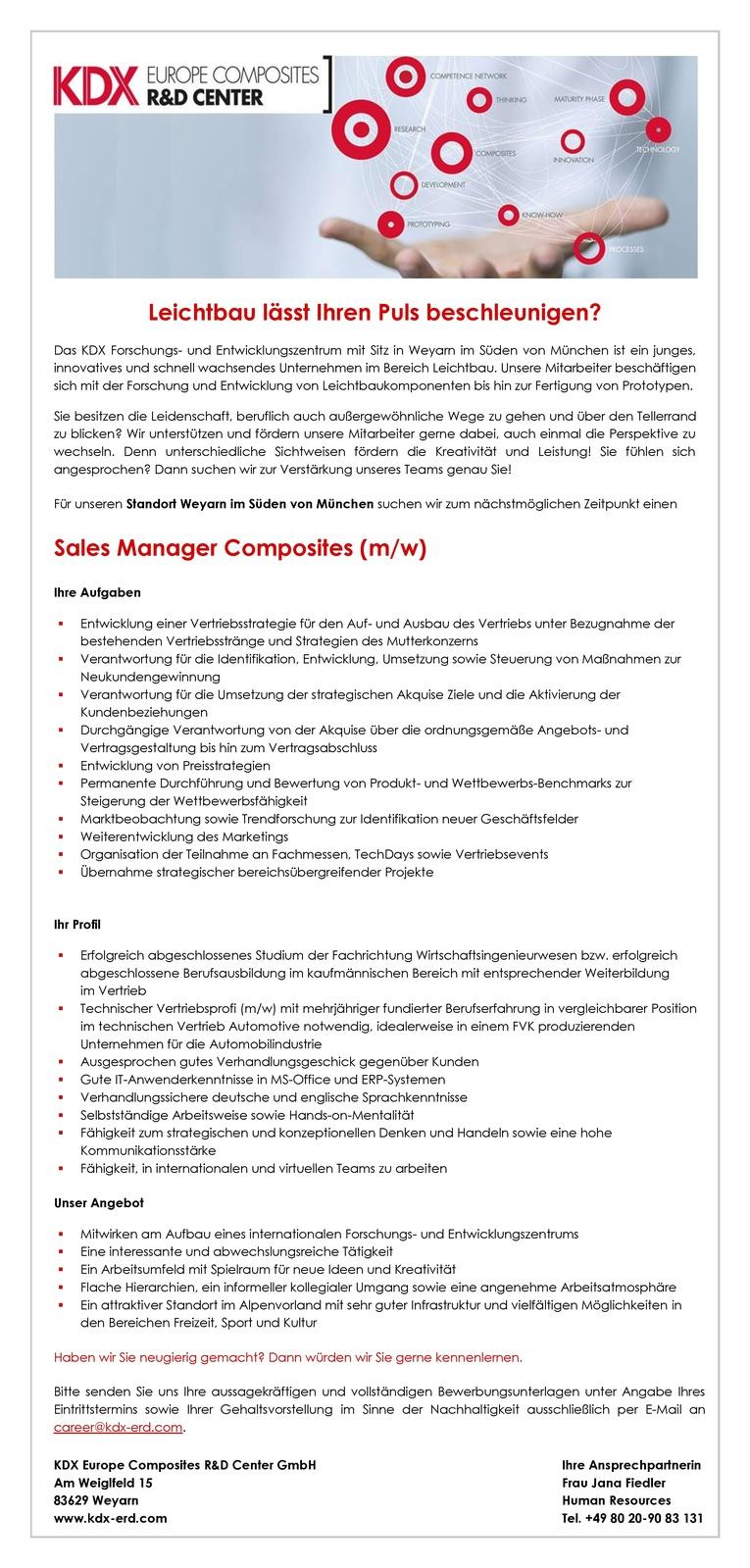 Sales Manager Composites (m/w)