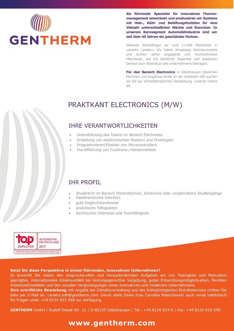 Praktikant Electronics (m/w)