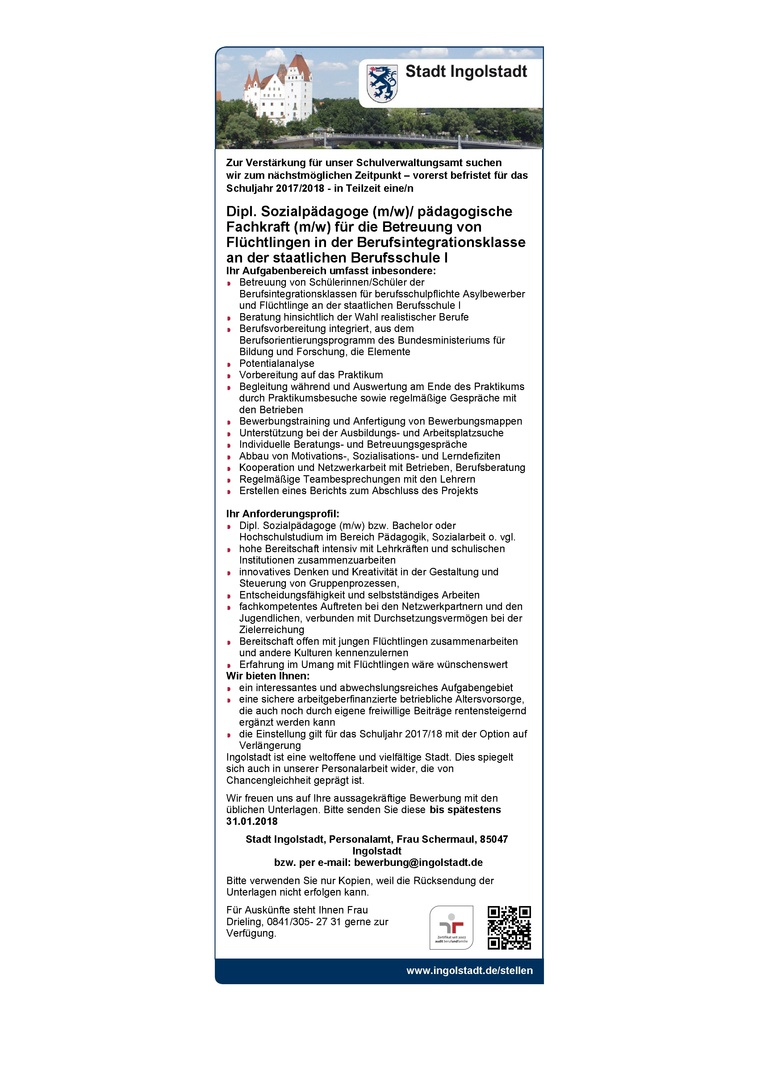 Dipl. Sozialpädagoge (m/w)/ pädagogische Fachkraft (m/w) für die Betreuung von Flüchtlingen in der Berufsintegrationsklasse an der staatlichen Berufsschule I