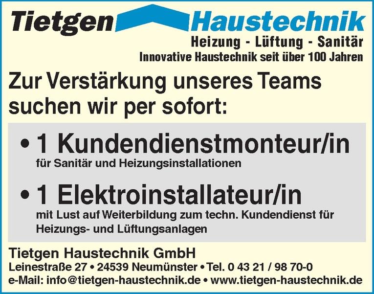 Kundendienstmonteur/in für Sanitär und Heizungsinstallationen