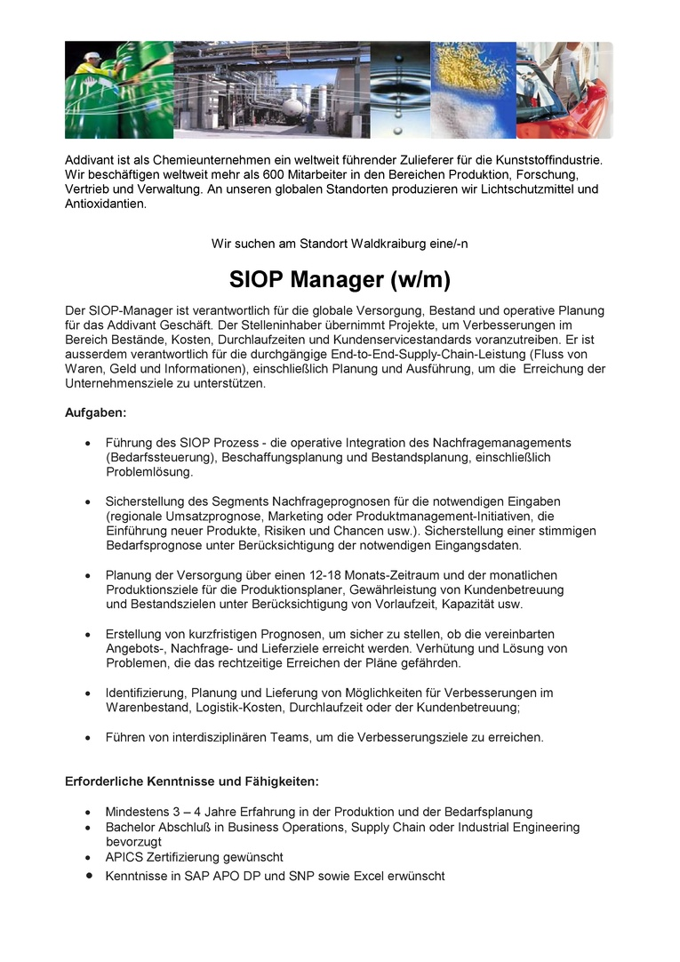 SIOP Manager (m/w)