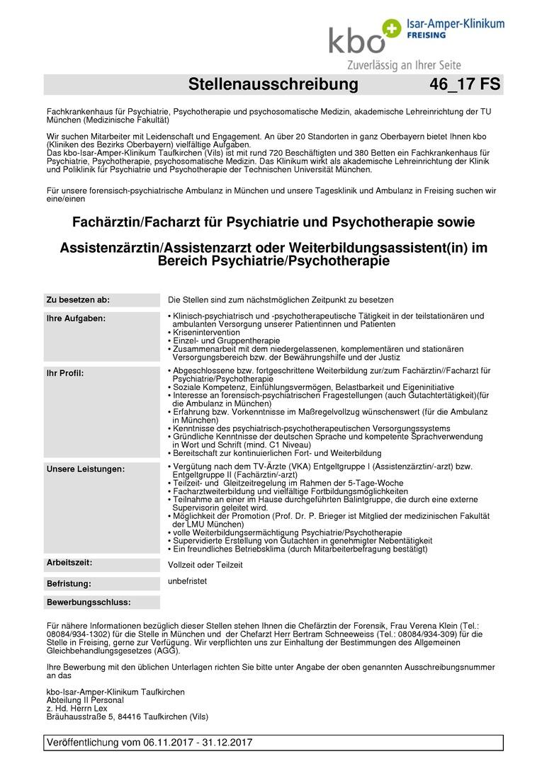 Fachärztin/Facharzt für Psychiatrie und Psychotherapie sowie Assistenzärztin/Assistenzarzt oder Weiterbildungsassistent(in) im Bereich Psychiatrie/Psychotherapie
