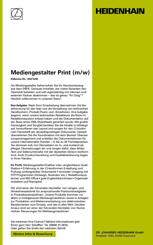 Mediengestalter Print (m/w)
